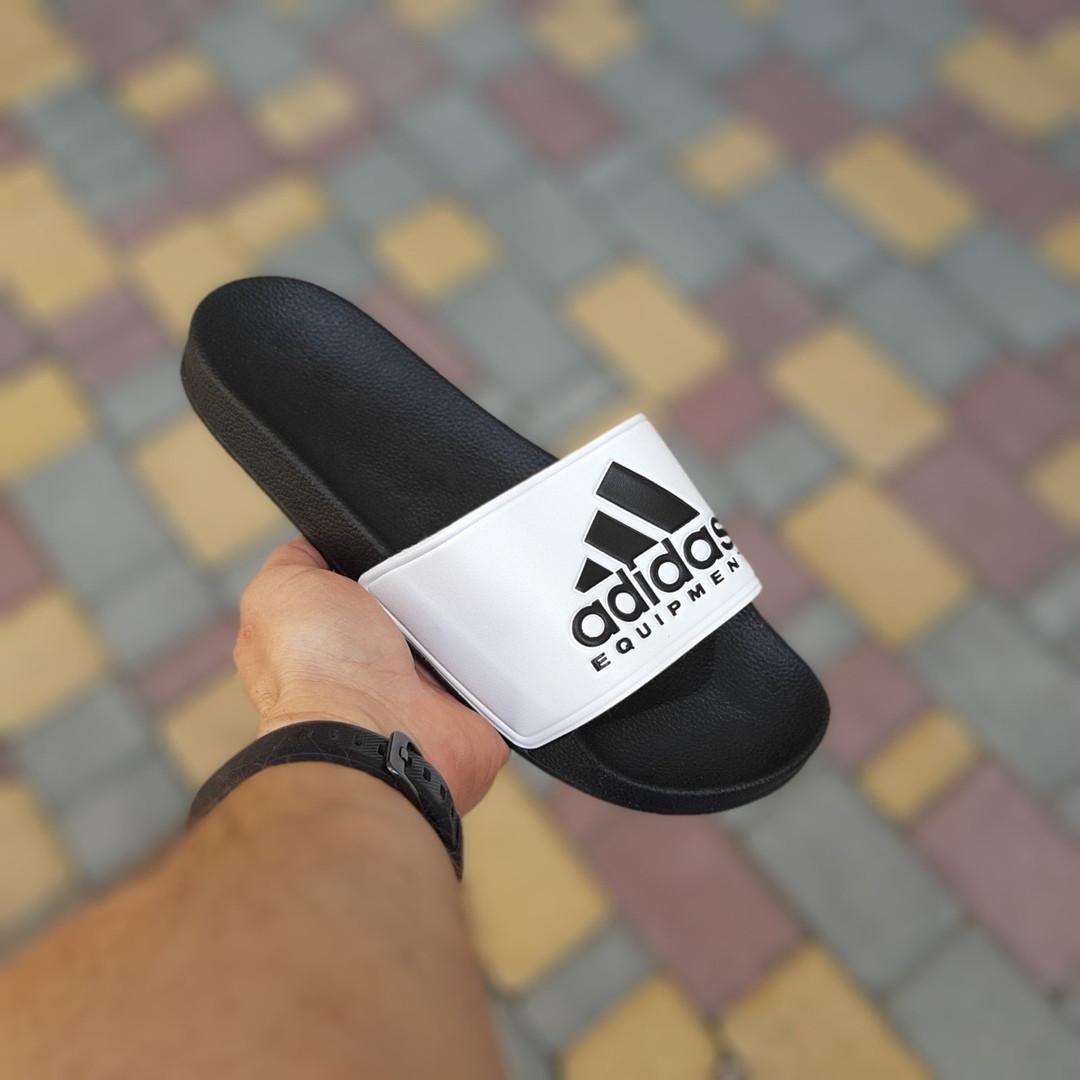 Мужские летние шлепанцы Adidas (черно-белые) 40012