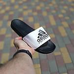 Мужские летние шлепанцы Adidas (черно-белые) 40012, фото 3