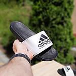 Мужские летние шлепанцы Adidas (черно-белые) 40012, фото 4