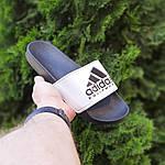 Мужские летние шлепанцы Adidas (черно-белые) 40012, фото 5