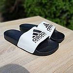 Мужские летние шлепанцы Adidas (черно-белые) 40012, фото 8