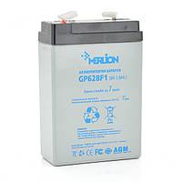 Акумуляторна батарея MERLION AGM GP628F1 6 V 2,8Ah ( 67 x 35 x 100 (105) )  0,57 кг Q25