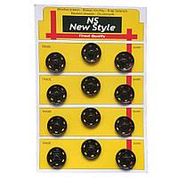 Пришивные застежки-кнопки для одежды New Style D=21мм 12шт металлические цвет черный (653-Т-0275)