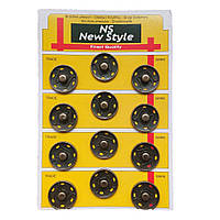 Пришивные застежки-кнопки для одежды New Style D=25мм 12шт металлические цвет антик (653-Т-0114)