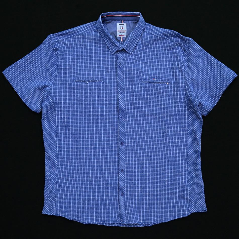 Сорочка чоловіча (приталена) з коротким рукавом Bagarda BG5730-B NAVY 97% бавовна 3% еластан 4XL(Р)