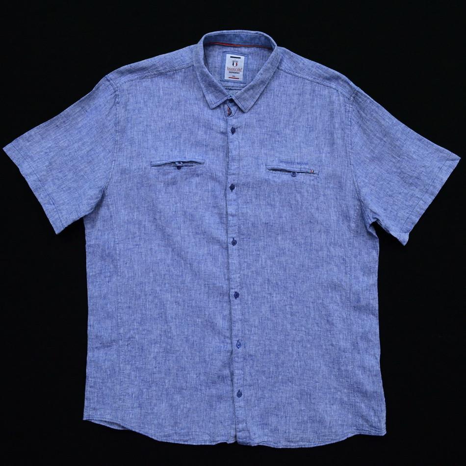 Сорочка чоловіча (приталена) з коротким рукавом Bagarda BG5722-B SAX 80% льон 20% бавовна 4XL(Р)
