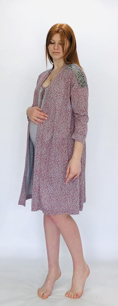 Комплект в роддом халат и ночная рубашка хлопок