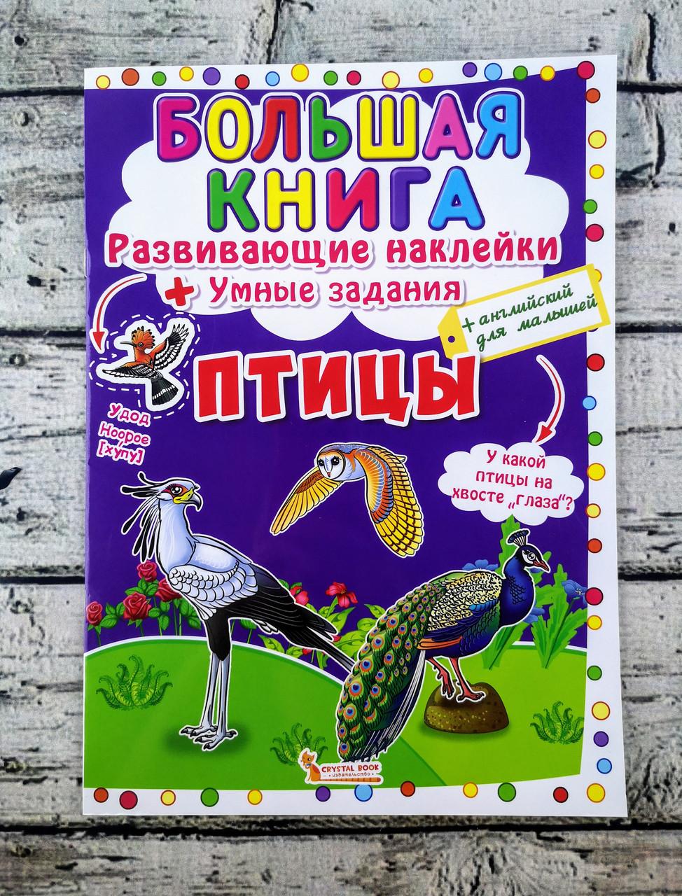 Развивающая Большая книга с наклейками Птицы 98952+ БАО Украина