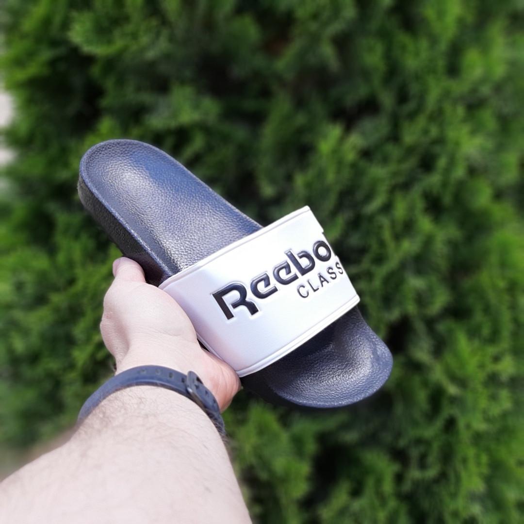 Мужские летние шлепанцы Reebok (черно-белые) 40014