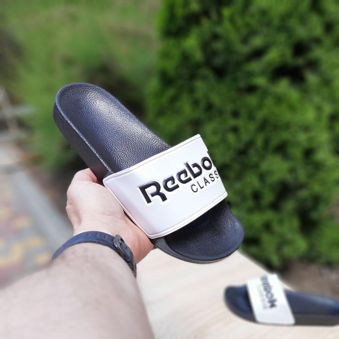 Женские летние шлепанцы Reebok (черно-белые) 50003