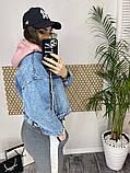 Джинсовка (джинсовая куртка) короткая с трикотажным капюшоном р.М=42,Л=44,ХЛ=46 Код 713Г, фото 2