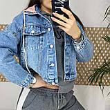 Джинсовка (джинсовая куртка) короткая с трикотажным капюшоном р.М=42,Л=44,ХЛ=46 Код 713Г, фото 3
