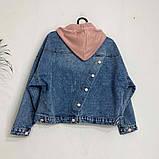 Джинсовка (джинсовая куртка) короткая с трикотажным капюшоном р.М=42,Л=44,ХЛ=46 Код 713Г, фото 4