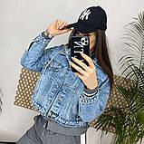 Джинсовка (джинсовая куртка) короткая с трикотажным капюшоном р.М=42,Л=44,ХЛ=46 Код 713Г, фото 5