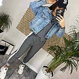 Джинсовка (джинсовая куртка) короткая с трикотажным капюшоном р.М=42,Л=44,ХЛ=46 Код 713Г, фото 8