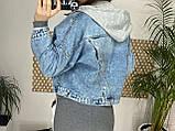 Джинсовка (джинсовая куртка) короткая с трикотажным капюшоном р.М=42,Л=44,ХЛ=46 Код 713Г, фото 9