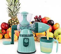 Соковыжималка ручная механическая универсальная шнековая с набором насадок для фруктов овощей