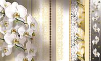 Фотообои 3D цветы 368x254 см Орхидеи с золотыми узорами (1304CN)
