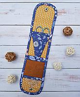 Чехол для ножниц и иголок (до 11,5 см). (расцветка: Цветы джинс)