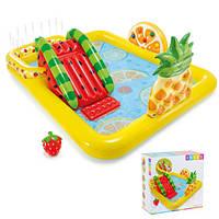 Детский надувной бассейн с горкой Intex 57158 Веселые Фрукты, игровой центр