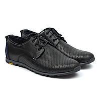 Літні кросівки шкіряні в сіточку чорні чоловіче взуття великих розмірів Rosso Avangard BS AN Black