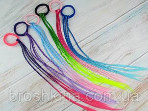 Гумки для волосся з кольоровими кісками 32 см 12 шт/уп