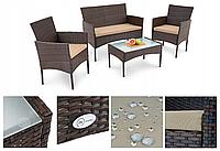 Садові меблі з штучного ротангу: дван + 2 крісла + столик