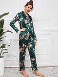 Піжама жіноча атласна на гудзиках. Комплект шовковий для дому, сну з довгим рукавом (зелений), фото 3