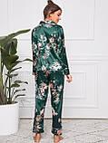 Піжама жіноча атласна на гудзиках. Комплект шовковий для дому, сну з довгим рукавом (зелений), фото 4