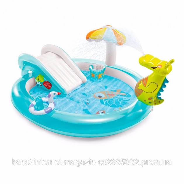 Водний надувний ігровий центр Intex 57165 Крокодил (201 x 170 x 84 см)
