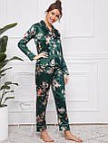Пижама женская атласная на пуговицах. Комплект шелковый для дома, сна с длинным рукавом (зеленый) L, фото 2