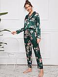 Пижама женская атласная на пуговицах. Комплект шелковый для дома, сна с длинным рукавом (зеленый) L, фото 4