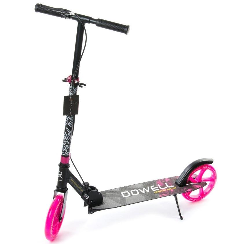 """Двухколёсный детский самокат AmigoSport """"Dowell"""" алюминиевый с ножкой, Черно-розовый"""
