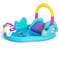Детский надувной игровой центр-бассейн Bestway 53097 Единорог + шарики 6шт