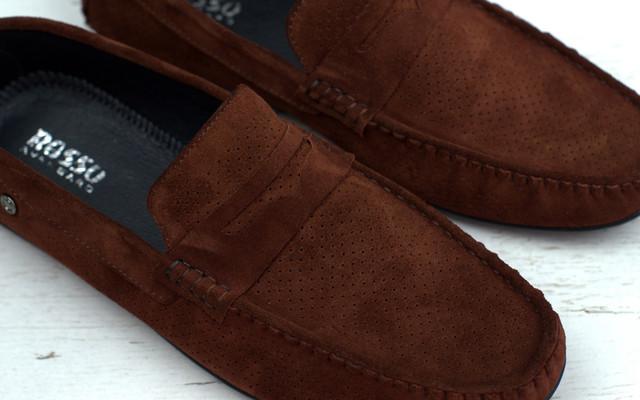 Коричневые летние мокасины замшевые обувь больших размеров мужская Rosso Avangard ETHEREAL CINNAMON Vel PerfBS
