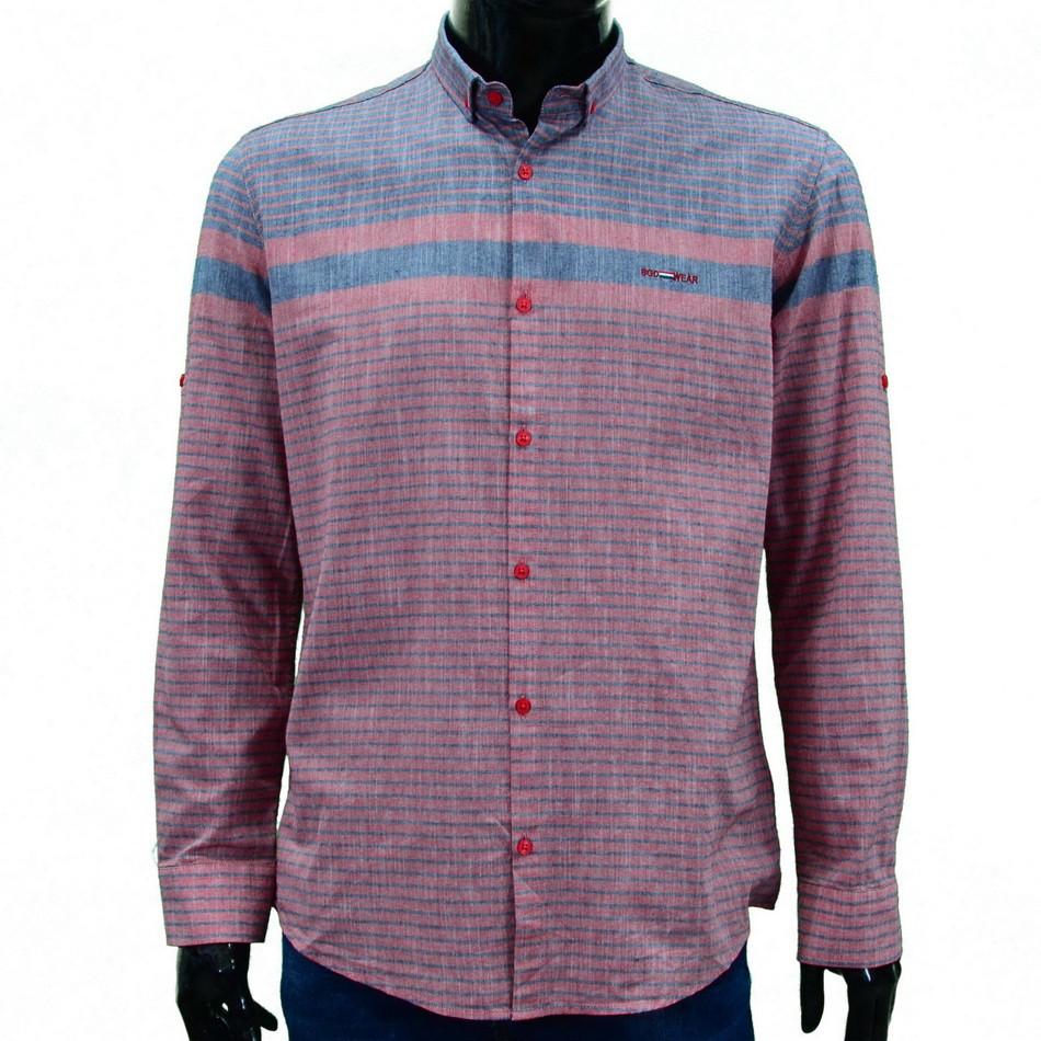 Сорочка чоловіча, приталена (Slim Fit), з довгим рукавом Bagarda BG5824 RED 70% бавовна 30% льон M(Р)