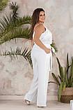 Летний белый брючный женский костюм с майкой и брюками, батал, 6 цветов, р.42-44,46-48,50-52,54-56 код 238/1Э, фото 5