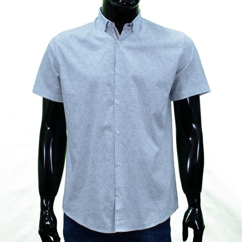 Сорочка чоловіча (приталена) з коротким рукавом Bagarda BG5812 WHITE 93% бавовна 7% еластан M(Р)