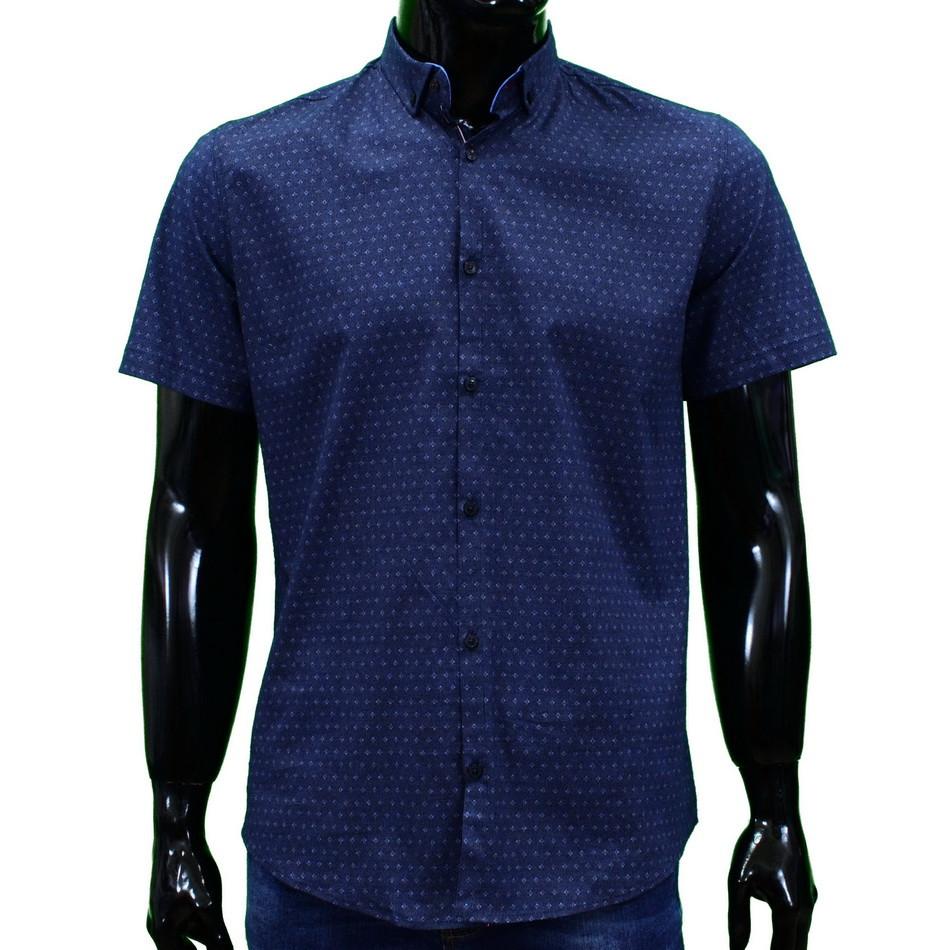 Сорочка чоловіча (приталена) з коротким рукавом Bagarda BG5814 NAVY-BLUE 93% бавовна 7% еластан XL(Р)