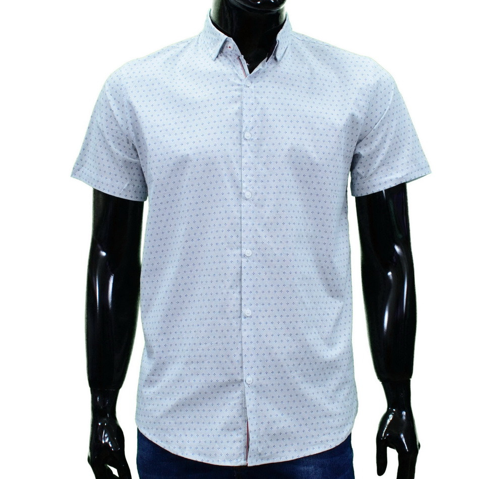 Сорочка чоловіча (приталена) з коротким рукавом Bagarda BG5814 WHITE 93% бавовна 7% еластан XL(Р)