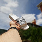 Женские летние шлепанцы Givenchy (бело-серебристые) 50008, фото 2