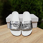 Женские летние шлепанцы Givenchy (бело-серебристые) 50008, фото 8