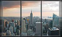 Фотообои 3D город (флизелин, плотная бумага, 368х254 см) Вид с окна на  Нью-Йорк (493CN)
