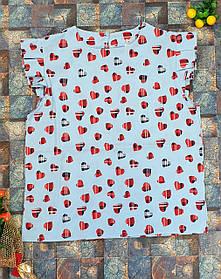 Блузка Ярослава с сердечками 128,134,140,146,152 голубой