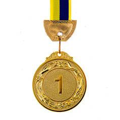 Медаль наградная с лентой, d=60 мм Золото