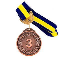Медаль наградная с лентой, d=60 мм Бронза