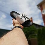 Женские шлепки Calvin Klein на лето (черно-белые) 50007, фото 4