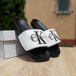 Женские шлепки Calvin Klein на лето (черно-белые) 50007, фото 7