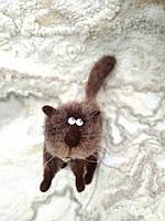 """Валяный кот """"Шоколад"""", сухое валяние, подарок для мужчины, подарок для друзей, подарок для папы, подарок кот"""