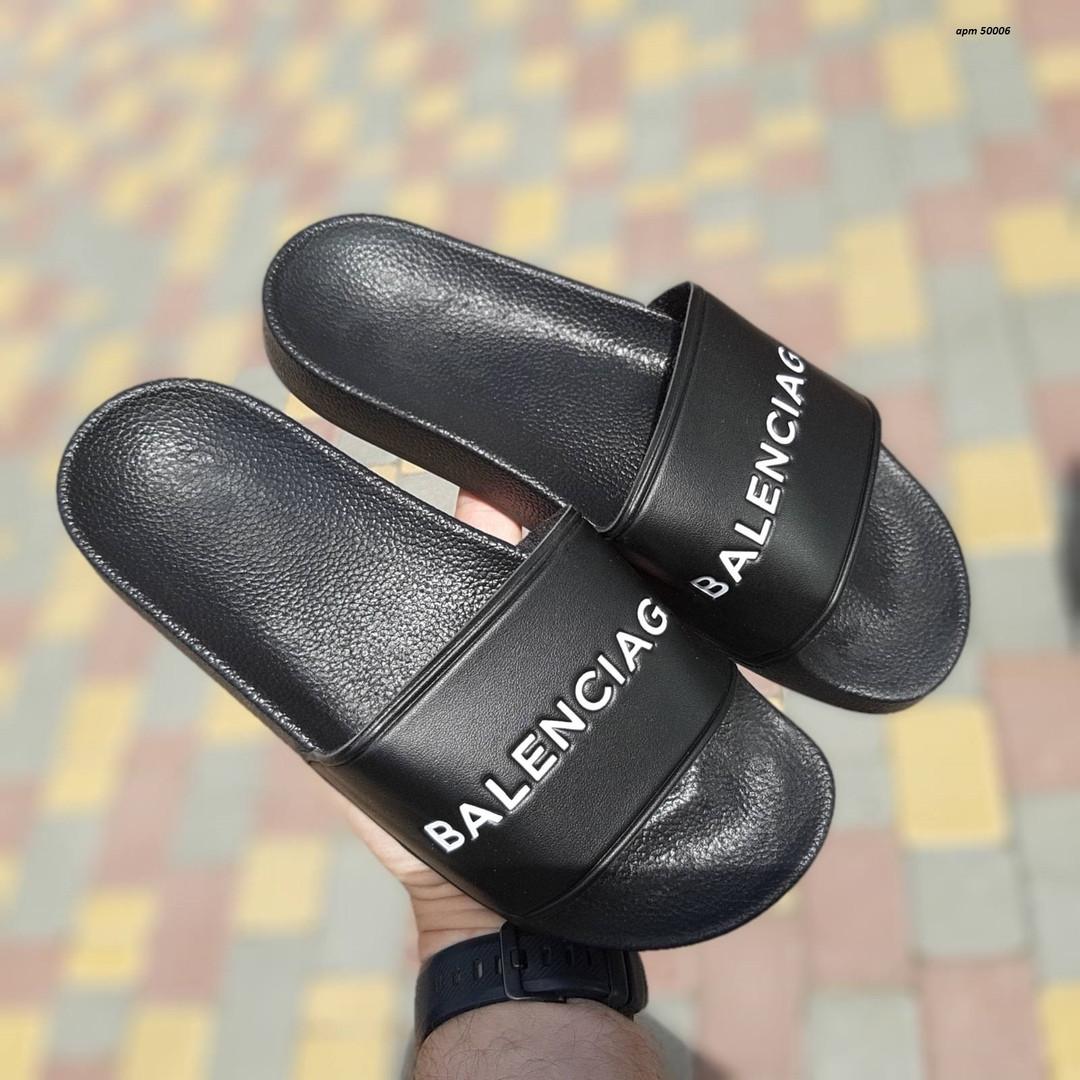 Женские летние шлепки Balenciaga (черные) 50006
